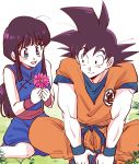 1boy 1girl absurdres bangs bare_arms bare_legs bare_shoulders black_hair blue_dress blue_eyes boots chi-chi_(dragon_ball) chinese_clothes clothes_writing commentary_request couple crossed_legs dougi dragon_ball dragon_ball_(classic) dress eyebrows_visible_through_hair eyelashes eyes_visible_through_hair fingernails flower grass happy hetero highres holding holding_flower leaf looking_at_another looking_down looking_to_the_side miiko_(drops7) nature open_mouth outdoors pink_flower plant ponytail simple_background sitting sleeveless sleeveless_dress smile son_gokuu spiky_hair white_background wristband