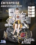 alternate_costume azur_lane baseball_cap clothes_around_waist copyright_name denim denim_shorts enterprise_(azur_lane) eyewear_on_head ground_vehicle hao_(patinnko) hat highres jacket_around_waist logo long_hair motor_vehicle motorcycle multiple_views off-shoulder_shirt off_shoulder official_art road_sign salute shirt shoes shorts sign silver_hair smile sneakers sunglasses traffic_cone violet_eyes vulcan_salute