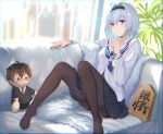 1girl black_hairband black_legwear black_skirt blue_eyes blue_neckwear blurry blurry_background blush character_doll character_request closed_fan closed_mouth couch depth_of_field fan folding_fan fur hair_intakes hair_ornament hairband highres holding holding_fan indoors knees_up l.kili long_sleeves medium_skirt neckerchief no_shoes on_couch pantyhose plant pleated_skirt ryuuou_no_oshigoto! sailor_collar school_uniform serafuku shirt short_hair shougi_piece silver_hair sitting skirt snowflake_hair_ornament solo sora_ginko thighband_pantyhose v-shaped_eyebrows white_sailor_collar white_shirt