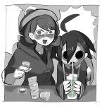 1boy 1girl blank_speech_bubble blush chillarism drinking_glass drinking_straw drunk female_protagonist_(pokemon_swsh) grayscale hat mask monochrome onion_(pokemon) open_mouth poke_ball_print short_hair speech_bubble