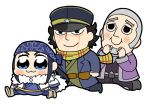 1girl 2boys :3 ainu_clothes asirpa bandana belt bkub black_eyes black_hair blue_bandana blue_eyes blue_headwear blush_stickers earrings facial_scar golden_kamuy hat jewelry messy_hair military military_hat military_uniform multiple_boys scar scar_across_eye scarf shaved_head shiraishi_yoshitake simple_background smile star sugimoto_saichi uniform white_background
