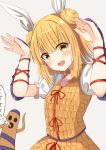 1girl arm_guards armor arms_up blonde_hair blush bunny_pose commentary_request double_bun eyebrows_visible_through_hair eyes_visible_through_hair grey_background hair_ribbon haniwa_(statue) highres joutougu_mayumi looking_at_viewer open_mouth puffy_short_sleeves puffy_sleeves ribbon shirt short_hair short_sleeves sidelocks simple_background solo standing taki_sandstone touhou upper_body white_shirt yellow_eyes