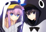 2girls animal_costume animal_hood black_hair blue_eyes blue_ribbon bow bowtie bra_strap collarbone eyebrows_visible_through_hair fate/extra fate/extra_ccc fate/grand_order fate_(series) hair_bow highres hood hood_up hoodie kuonji_alice long_hair mahou_tsukai_no_yoru meltryllis multiple_girls parted_lips penguin_costume purple_hair ribbon simple_background smile suga_hideo type-moon violet_eyes white_background