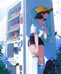 1girl absurdres adjusting_clothes adjusting_legwear artist_name backpack backpack_removed bag bangs baseball_cap black_hair blue_shorts bottle chain-link_fence clouds cloudy_sky collarbone commentary day earrings english_commentary feet_out_of_frame fence hat heart heart_earrings highres holding holding_bottle jewelry leaf looking_to_the_side marmalade_(elfless_vanilla) original outdoors plant shade shirt short_hair short_sleeves shorts sky solo standing summer sweat thigh-highs white_legwear white_shirt yellow_headwear