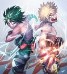 2boys absurdres bakugou_katsuki black_legwear blonde_hair bodysuit boku_no_hero_academia commentary_request energy eyebrows_visible_through_hair green_eyes green_hair green_legwear grin highres kamonegi_(meisou1998) knee_pads looking_at_viewer male_focus messy_hair midoriya_izuku multiple_boys muscle red_eyes short_hair smile spiky_hair teeth topless torn_bodysuit torn_clothes