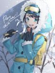 1girl backpack bag bangs belt black_gloves blue_eyes blue_sleeves breath buttons coat finger_to_mouth gloves goggles goggles_on_head holding holding_sickle holding_weapon hololive index_finger_raised long_sleeves nokachoco114 oozora_subaru open_mouth project_winter sickle snow snowflakes solo teeth tree_branch virtual_youtuber weapon winter_clothes winter_coat