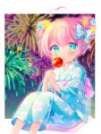 +_+ 1girl :o aerial_fireworks ahoge bangs blue_bow blue_eyes blue_flower blue_kimono blurry blurry_background blush bow candy_apple commentary_request depth_of_field double_bun eyebrows_behind_hair feet_out_of_frame fireworks floral_print flower food food_on_face green_eyes hair_between_eyes hair_bow hair_flower hair_ornament hands_together heart_ahoge holding holding_food japanese_clothes kimono komachi_pochi long_sleeves looking_at_viewer multicolored multicolored_eyes obi original own_hands_together parted_lips pink_hair plaid plaid_bow print_kimono sash sidelocks solo wide_sleeves yellow_flower
