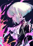 1boy bangs biker_clothes black_jacket closed_mouth cravat earrings fire from_side green_hair jacket jewelry lio_fotia long_sleeves male_focus okchoko profile promare violet_eyes