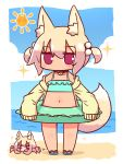 3girls animal animal_ear_fluff animal_ears bangs bare_shoulders bell bell_collar bikini bikini_under_clothes blonde_hair blue_bikini blue_footwear blue_sky blush brown_collar clouds collar collarbone crab day eyebrows_visible_through_hair fox_ears fox_girl fox_tail frilled_bikini frills hair_between_eyes hair_bobbles hair_ornament highres horizon innertube jacket jingle_bell kemomimi-chan_(naga_u) long_sleeves looking_at_viewer multiple_girls naga_u navel ocean off_shoulder open_clothes open_jacket original outdoors red_eyes sandals sidelocks sky sleeves_past_fingers sleeves_past_wrists solo_focus sparkle standing sun_(symbol) swimsuit tail tan two_side_up water yellow_jacket