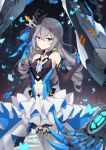 1girl bangs black_gloves blush breasts bronya_zaychik bronya_zaychik_(herrscher_of_reason) bug butterfly center_opening crossed_bangs dress drill_hair earrings elbow_gloves gloves hair_ornament highres honkai_(series) honkai_impact_3rd insect jewelry layered_dress long_hair looking_at_viewer poinia project_bunny quad_drills silver_hair small_breasts solo thigh-highs white_legwear