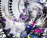 1boy fate/grand_order fate_(series) flower hood kusakanmuri long_bangs long_sleeves merlin_(fate) one_eye_covered robe smile solo spot_color staff violet_eyes white_hair