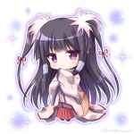 1girl bangs black_footwear black_hair blush brown_kimono chibi closed_mouth commentary_request copyright_request eyebrows_visible_through_hair full_body hair_ribbon hakama japanese_clothes kimono long_hair long_sleeves red_hakama red_ribbon ribbon ribbon-trimmed_sleeves ribbon_trim ryuuka_sane sidelocks sleeves_past_wrists smile solo sparkle standing twitter_username two_side_up very_long_hair violet_eyes white_background wide_sleeves zouri