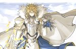 1girl ahoge armor artoria_pendragon_(all) artoria_pendragon_(lancer) blonde_hair cape crown fate/grand_order fate_(series) fur-trimmed_cape fur_trim gauntlets green_eyes holding_lance kan_(aaaaari35) lance polearm reaching_out rhongomyniad weapon