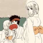 1boy 1girl arc_the_lad_ii braid breasts commentary_request elc_(arc_the_lad) hair_over_shoulder japanese_clothes kimono lieza long_hair looking_at_viewer low-tied_long_hair marusa_(marugorikun) single_braid