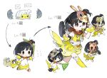 1girl animal_costume bandaid_on_leg baseball_bat binoculars black_hair blush chibi cropped_legs dress egg evolution flag flying_sweatdrops frying_pan hammer highres idolmaster idolmaster_million_live! mask nail nail_bat nakatani_iku no_nose pointy_ears short_hair side_ponytail spawnfoxy tail walking whistling white_background