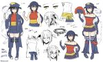 1girl :d ^_^ bangs bare_shoulders blue_footwear blue_gloves blue_headwear blue_jacket blue_legwear blue_skirt blush boots character_sheet closed_eyes collarbone dress elbow_gloves eyebrows_visible_through_hair fan fang fingerless_gloves folding_fan frilled_skirt frills fur_trim garchomp gen_4_pokemon gloves grin hair_between_eyes hat holding holding_fan jacket long_sleeves multiple_views obi off-shoulder_dress off_shoulder open_clothes open_jacket open_mouth peaked_cap personification pigeon-toed pleated_skirt pokemon pokemon_(creature) pokemon_(game) pokemon_dppt red_dress red_shirt sash shirt simple_background skirt sleeveless sleeveless_shirt smile somechime_(sometime1209) standing star tears thigh-highs thigh_boots v-shaped_eyebrows white_background white_gloves wide_sleeves yellow_eyes