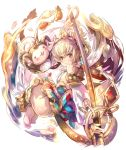 andira_(granblue_fantasy) animal_ears ass blonde_hair breasts cleavage_cutout detached_leggings detached_sleeves erune flying_nimbus fur_trim granblue_fantasy hagoromo haku_(sabosoda) leotard monkey monkey_ears monkey_girl monkey_tail shawl small_breasts staff tail two_side_up white_leotard