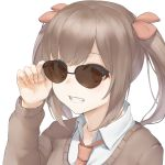1girl :d brown_hair brown_sweater collared_shirt grin hair_ornament hand_on_eyewear hand_up highres long_hair long_sleeves looking_at_viewer marulire morinaga_miu morinaga_miu_channel necktie open_mouth orange_eyes over-rim_eyewear semi-rimless_eyewear shirt simple_background smile solo sunglasses sweater twintails undershirt upper_body virtual_youtuber white_background white_shirt