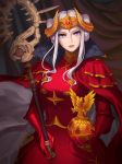 1girl artist_name cape closed_mouth curtains double_bun edelgard_von_hresvelg fire_emblem fire_emblem:_three_houses globus_cruciger gloves headpiece holding holding_staff indoors long_hair looking_at_viewer red_cape red_gloves shattered_earth sidelocks sitting solo staff violet_eyes white_hair