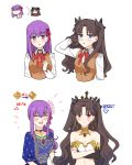 2girls absurdres anklet appleale19 armlet asymmetrical_sleeves bangs black_hair black_ribbon blue_eyes breasts bridal_gauntlets crown detached_collar earrings elbow_gloves fate/grand_order fate/stay_night fate_(series) flower gameplay_mechanics gloves hair_flower hair_ornament hair_ribbon highres homurahara_academy_uniform hoop_earrings indian_clothes ishtar_(fate/grand_order) jewelry long_hair matou_sakura multiple_girls neck_ring necklace parted_bangs parvati_(fate/grand_order) purple_hair red_eyes ribbon single_elbow_glove single_thighhigh smile sweater thigh-highs tiara toosaka_rin turtleneck two_side_up violet_eyes