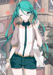 absurdres aqua_eyes aqua_hair beige_shirt blue_collar blue_shorts building collar commentary contrapposto cowboy_shot earrings gold_earrings gold_trim hand_up hatsune_miku heart_a_la_mode_(vocaloid) highres jewelry long_hair looking_at_viewer multicolored_shirt neonbeat one_eye_closed outdoors scrunchie shirt short_shorts short_sleeves shorts smile twintails vocaloid waving white_shirt wrist_scrunchie