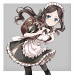1girl apron backpack bag black_dress black_legwear blue_eyes brown_hair dress fate/grand_order fate_(series) grey_background highres leaning_forward leonardo_da_vinci_(fate/grand_order) leonardo_da_vinci_(rider)_(fate) long_hair maid maid_headdress ponytail randoseru simple_background smile solo thigh-highs tm-pika white_apron