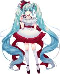 1girl absurdly_long_hair absurdres aqua_eyes aqua_hair bare_arms bare_shoulders black_footwear camera collarbone commentary dress frills green_hair hair_between_eyes hair_ornament hair_ribbon hatsune_miku highres holding holding_camera kneehighs long_hair looking_at_viewer red_ribbon ribbon shoes short_dress short_sleeves solo twintails very_long_hair vocaloid white_dress white_legwear zktxm1065