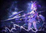 1girl azur_lane bangs blue_eyes blue_sailor_collar blurry blurry_foreground blush bridal_gauntlets chain clouds cloudy_sky commentary_request crown cuts depth_of_field eyebrows_visible_through_hair hair_between_eyes hair_ribbon high_ponytail highres holding holding_weapon injury javelin javelin_(azur_lane) lightning machinery mini_crown neckerchief object_namesake ocean outdoors overcast parted_lips pink_neckwear ponytail purple_hair purple_ribbon retrofit_(azur_lane) ribbon sailor_collar seero shirt skirt sky sleeveless sleeveless_shirt solo standing thigh-highs tilted_headwear torn_clothes torn_legwear torn_skirt torpedo v-shaped_eyebrows water waves weapon white_legwear white_shirt white_skirt