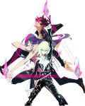 3boys arm_up biker_clothes black_gloves black_jacket black_pants blue_hair cravat fire gloves green_hair gueira hair_over_one_eye half_gloves jacket lio_fotia long_hair mad_burnish male_focus manbou_no_ane meis_(promare) multiple_boys pants promare redhead shirt sleeveless tattoo violet_eyes