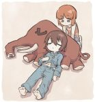 2girls bangs brown_hair closed_eyes girls_und_panzer looking_at_another lying monolith_(suibou_souko) multiple_girls navel nishizumi_maho nishizumi_miho on_back short_hair shorts simple_background sleeping soles stuffed_toy younger