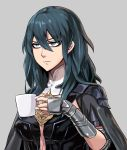 1girl annoyed arm_guards bangs black_cape blue_eyes blue_hair breasts byleth_(fire_emblem) byleth_(fire_emblem)_(female) cape closed_mouth coffee_mug cup damagefloor fire_emblem fire_emblem:_three_houses golding_cup grey_background hair_between_eyes highres large_breasts long_hair mug pauldrons shoulder_armor simple_background solo upper_body v-shaped_eyebrows vambraces
