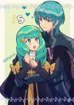 1boy 1girl armor black_cape blue_eyes blue_hair bow byleth_(fire_emblem) byleth_(fire_emblem)_(male) byleth_eisner_(male) cape closed_mouth cute fire_emblem fire_emblem:_fuukasetsugetsu fire_emblem:_three_houses fire_emblem_16 flayn_(fire_emblem) green_eyes green_hair hair_ornament highres hug hug_from_behind intelligent_systems kiriya_(552260) long_hair long_sleeves male_my_unit_(fire_emblem:_fuukasetsugetsu) moe my_unit_(fire_emblem:_fuukasetsugetsu) nintendo open_mouth short_hair twitter_username uniform