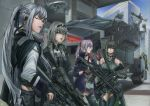 6+girls ak-12 ak-12_(girls_frontline) an-94 an-94_(girls_frontline) anti-rain_(girls_frontline) ar-15 armored_personnel_carrier artist_request assault_rifle blue_sky check_commentary city closed_eyes commentary_request defy_(girls_frontline) drone fingerless_gloves girls_frontline gloves gun highres m4_carbine m4_sopmod_ii m4_sopmod_ii_(girls_frontline) m4a1_(girls_frontline) mod3_(girls_frontline) multiple_girls rifle ro635 ro635_(dinergate) ro635_(girls_frontline) sky st_ar-15_(girls_frontline) weapon