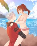 1boy 1girl absurdres beach bikini blazblue celica_a_mercury couple hair_ribbon happy highres hood hoodie hug ragna_the_bloodedge red_eyes ribbon smile summer swimsuit white_hair