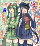 2girls :d bangs belt belt_buckle blue_hair blue_headwear blue_jacket blue_legwear blue_skirt blush breasts brown_belt brown_eyes buckle eyebrows_visible_through_hair eyewear_on_head fang flygon frilled_skirt frills garchomp gen_3_pokemon gen_4_pokemon gloves green_hair green_jacket green_legwear green_scarf green_skirt hair_between_eyes hands_up hat highres jacket lightning_bolt long_hair long_sleeves multiple_girls obi open_clothes open_jacket open_mouth outline peaked_cap personification pleated_skirt pokemon pokemon_(game) pokemon_dppt pokemon_rse red-tinted_eyewear red_shirt round_eyewear sash scarf shirt sidelocks skirt small_breasts smile somechime_(sometime1209) squiggle star striped striped_legwear thigh-highs two_side_up v-shaped_eyebrows very_long_hair white_gloves white_outline wide_sleeves yellow_eyes