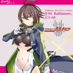 1girl ahoge azur_lane baltimore_(azur_lane) bangs black_coat breasts brown_hair card center_opening character_name coat crossover dated eyebrows_visible_through_hair gloves hair_between_eyes hebitsukai-san highres holding holding_card kamen_rider kamen_rider_dcd kamen_rider_decade large_breasts long_sleeves looking_at_viewer navel open_clothes open_coat short_hair smile solo stomach title_parody twitter_username under_boob underboob_cutout upper_body white_gloves yellow_eyes
