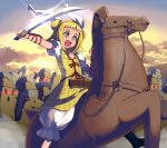 1girl :o bangs blonde_hair bloomers boots brown_eyes clouds commentary_request double_bun dress feet_out_of_frame flower glint hair_ribbon haniwa_(statue) highres holding holding_sword holding_weapon horseback_riding joutouguu_mayumi katana open_mouth outdoors puffy_short_sleeves puffy_sleeves ribbon riding rose shirt shope short_hair short_sleeves solo sword touhou underwear vambraces weapon white_bloomers white_ribbon white_shirt yellow_dress
