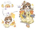 1girl :3 blush brown_eyes brown_hair cape capelet chibi crown detached_sleeves dot_nose dress egg evolution fur-trimmed_capelet fur_trim gloves high_heels highres horns idolmaster idolmaster_cinderella_girls kita_hinako knight medium_hair mini_crown minigirl no_feet no_nose orange_footwear pointy_ears princess red_cape simple_background sleeveless sleeveless_dress spawnfoxy speech_bubble transparent_footwear white_background white_gloves