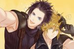 ... 2boys armor black_gloves blonde_hair blue_eyes closed_mouth cloud_strife earrings eyebrows_visible_through_hair facial_scar final_fantasy ginmumumu gloves jewelry male_focus multiple_boys open_mouth pauldrons scar scratches simple_background smile sparkle yellow_background zack_fair zipper zipper_pull_tab