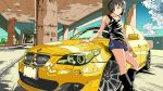 1girl artist_request bare_shoulders belt black_footwear black_hair black_tank_top bmw boots car commentary_request eyewear_removed green_eyes ground_vehicle harada_miyo highres idolmaster idolmaster_cinderella_girls knee_boots looking_at_viewer motor_vehicle pillar short_hair shorts sleeveless solo sunglasses tank_top under_bridge