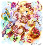 1girl angel angel_wings bell blonde_hair blue_eyes breasts christmas copyright_request gift gloves halo hat heart large_breasts meisuke_mei midriff navel official_art one_eye_closed red_gloves sack santa_costume santa_hat short_hair smile snowflakes solo star twintails wings