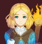 1girl bangs blue_eyes braid brown_cape brown_gloves cape commentary crown_braid fingerless_gloves fire forehead gloves grimmelsdathird hair_ornament hairclip highres long_sleeves looking_at_viewer parted_bangs parted_lips princess_zelda purple_background short_hair sidelocks simple_background solo symbol_commentary the_legend_of_zelda the_legend_of_zelda:_breath_of_the_wild the_legend_of_zelda:_breath_of_the_wild_2 thick_eyebrows torch twitter_username upper_body