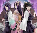 3girls animal animal_on_hand bangs black_hair black_jacket black_skirt blush butterfly_hair_ornament butterfly_on_hand character_request closed_mouth commentary_request day eyebrows_visible_through_hair fence fingernails floral_print flower hair_ornament highres holding holding_sword holding_weapon jacket japanese_clothes katana kimetsu_no_yaiba kimono kochou_shinobu long_sleeves looking_at_viewer looking_back multiple_girls obi open_clothes outdoors parted_bangs pink_kimono pink_nails pleated_skirt print_kimono profile purple_flower purple_hair ru_zhai sash side_ponytail skirt sleeves_past_wrists smile sword tsuyuri_kanao violet_eyes weapon wide_sleeves