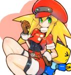 1girl belt bike_shorts bike_shorts_under_shorts blonde_hair blush breasts brown_gloves cabbie_hat capcom dakusuta gloves green_eyes hair_between_eyes hand_on_hip hat highres kobun long_hair looking_at_viewer red_headwear red_shorts rockman rockman_dash roll_caskett short_sleeves shorts small_breasts smile
