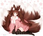 1girl :3 animal_ear_fluff animal_ears artist_name bangs black_bow black_legwear blush bow bow_legwear breasts brown_hair collarbone commentary commission deviantart_logo english_commentary eyebrows_visible_through_hair floral_print fox_ears fox_tail green_eyes highres instagram_logo jacket kyuubi large_breasts long_hair long_sleeves looking_at_viewer multiple_tails off-shoulder_jacket open_clothes open_jacket original pink_jacket pink_skirt puppypaww shirt skirt solo striped striped_legwear tail thigh-highs twintails twitter_logo white_shirt