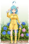 1girl ahoge arm_up bare_legs blue_hair boots breasts clenched_hand closed_eyes closed_mouth closed_umbrella eyebrows_visible_through_hair flower green_background hair_ornament hair_ribbon hand_on_own_head highres hydrangea ichirino_minagi large_breasts long_hair magical_girl original raincoat ribbon rubber_boots smile solo standing striped_sleeves umbrella yellow_coat yellow_footwear yellow_umbrella