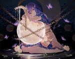 1girl adapted_costume alternate_hairstyle arm_up bangs barefoot beads bug butterfly chain commentary_request crescent_moon cuffs dress eyebrows_visible_through_hair flower full_moon hair_between_eyes hair_flower hair_ornament highres houraisan_chouko insect leaf long_hair looking_at_viewer moon nail_polish parted_lips partial_commentary petticoat purple_hair purple_nails revision rose shackles sitting solo touhou treble_clef_hair_ornament tsukumo_benben violet_eyes wariza white_flower white_rose yellow_dress
