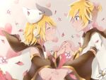 1boy 1girl arm_warmers black_collar blonde_hair blue_eyes blurry_foreground blush bow closed_eyes collar flower hair_bow hair_ornament hairclip headphones heart heart_background holding_hands kagamine_len kagamine_rin looking_at_another necktie open_mouth petals sailor_collar school_uniform shirt short_hair short_ponytail short_sleeves siblings smile tasi_y twins vocaloid white_bow white_shirt yellow_neckwear