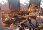 1girl :d absurdres arknights artist_name bangs black_choker broken_glass broken_window brown_hair choker collarbone commentary_request curled_horns dress eyebrows_visible_through_hair fingernails fire flamethrower glass gloves gun hair_between_eyes highres holding holding_gun holding_weapon horns ifrit_(arknights) indoors koi_han long_hair long_sleeves open_mouth orange_eyes parted_bangs shirt short_dress smile solo_focus v-shaped_eyebrows weapon white_dress white_gloves white_shirt wide_sleeves