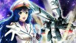 1girl :d blue_eyes blue_hair drill_hair gloves hat jacket long_hair looking_at_viewer lynn_minmay macross military military_jacket military_uniform novel_illustration official_art open_mouth outstretched_arm outstretched_hand peaked_cap reaching smile solo sparkle uniform upper_body very_long_hair white_gloves white_headwear white_jacket wing_collar